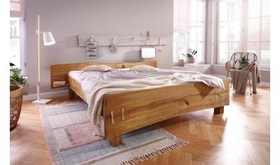 Premium collection by Home affaire Futonbett »Slabs«, (aus massiver Eiche mit integrierten Nachttischen) kaufen