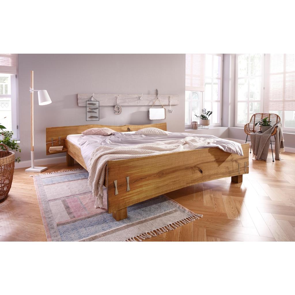 Premium collection by Home affaire Futonbett »Slabs«, (aus massiver Eiche mit integrierten Nachttischen)