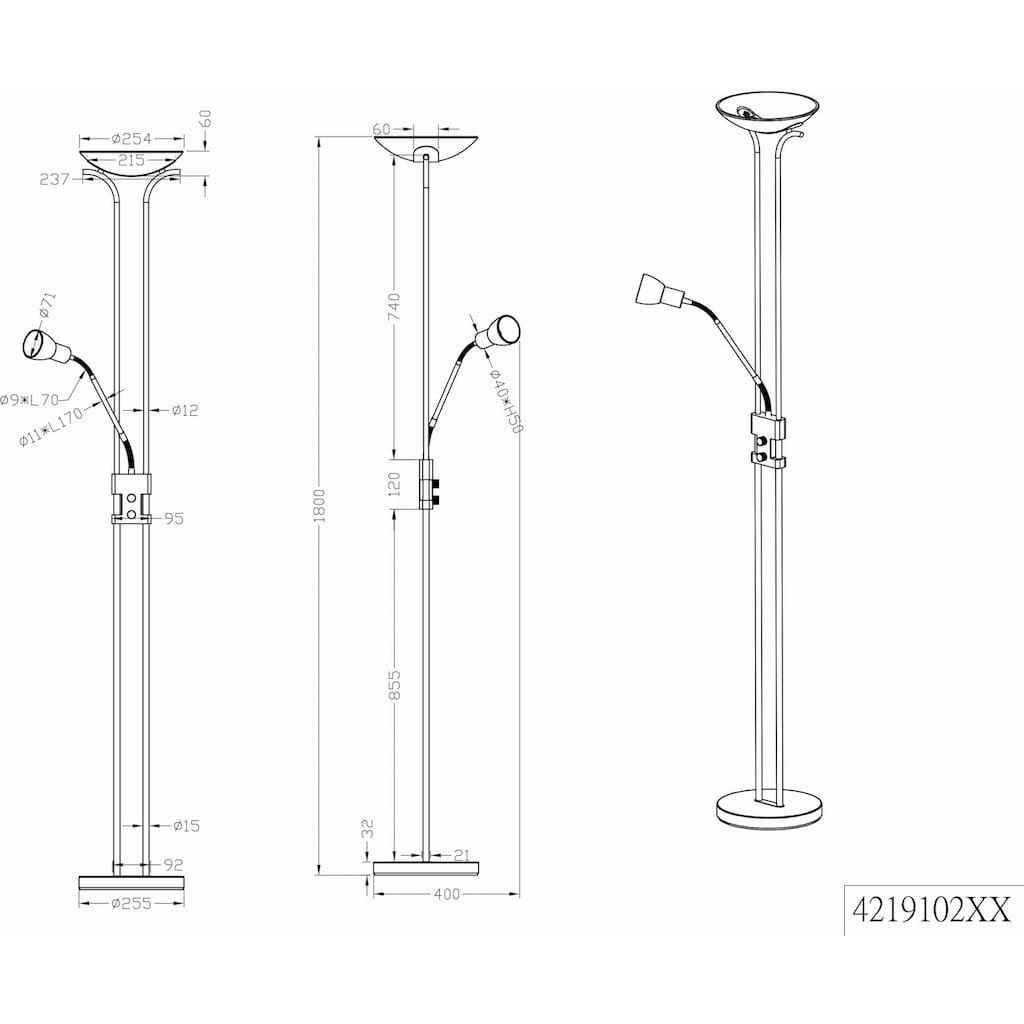 TRIO Leuchten LED Deckenfluter »Santo II«, Warmweiß, integrierter Dimmer,Flexibel