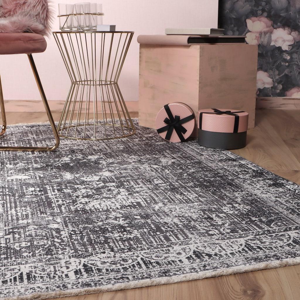 Obsession Teppich »My Valencia 632«, rechteckig, 6 mm Höhe, recycelte Materialien, Orient-Optik, Vintage Design, mit Fransen, waschbar, In- und Outdoor geeignet