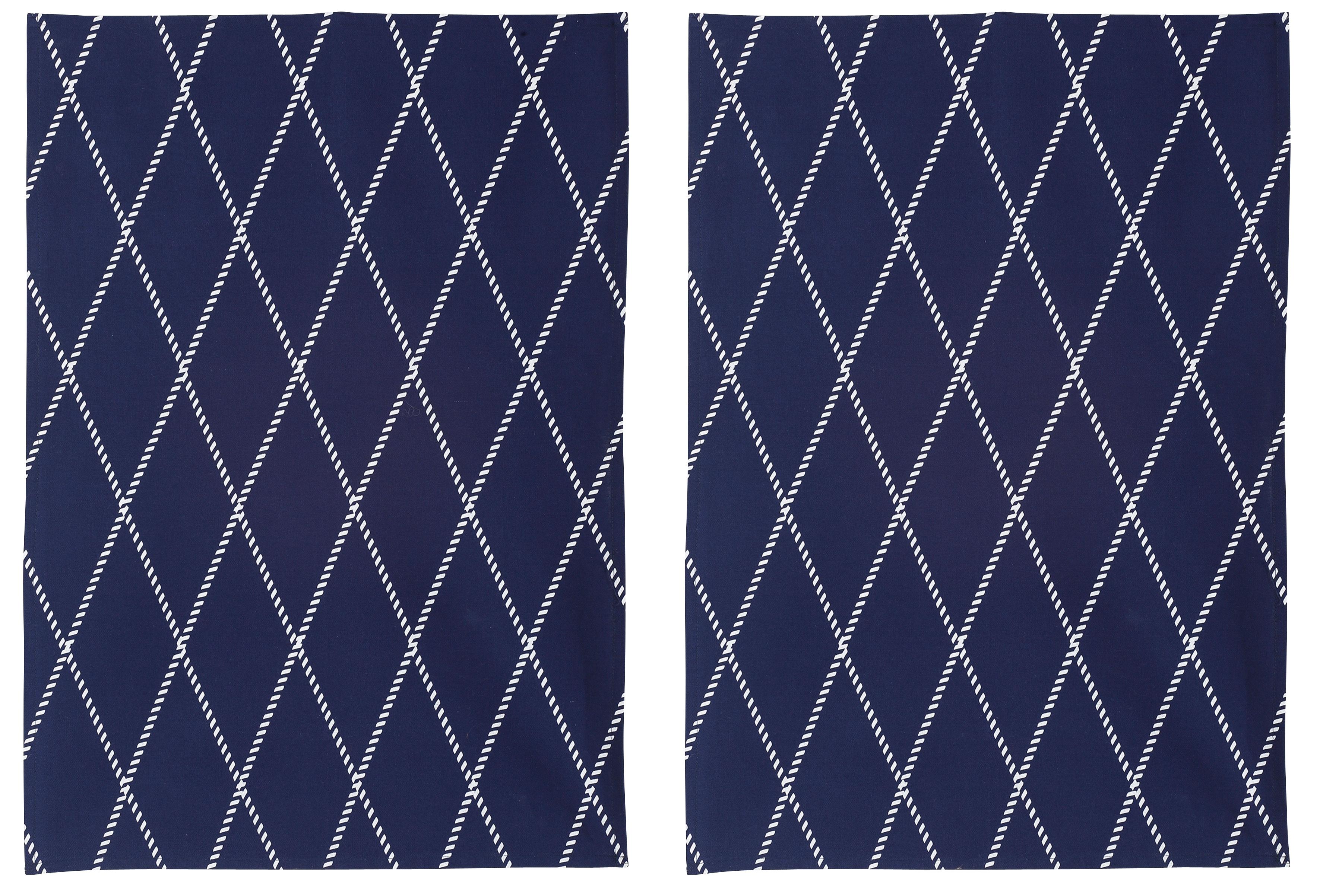 Home affaire Geschirrtuch Nervi, (Set, 4 tlg.), aus Bio-Baumwolle, mit Rautenmotiv blau Geschirrtücher Küchenhelfer Haushaltswaren