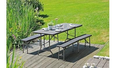 Garden Pleasure Bierzeltgarnitur »Ventana«, 3-tlg., 2 Bänke, Tisch, Kunststoff kaufen