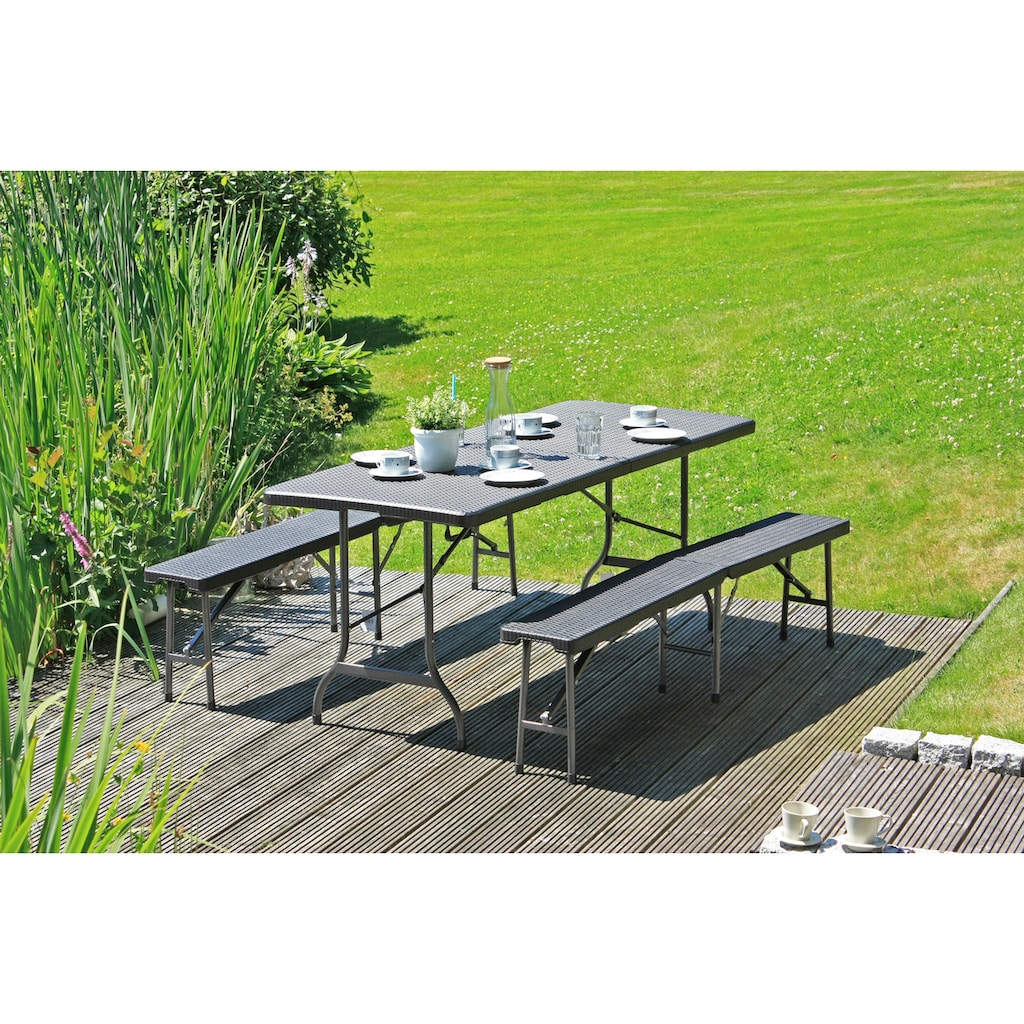 Garden Pleasure Bierzeltgarnitur »Ventana«, 3-tlg., 2 Bänke, Tisch, Kunststoff