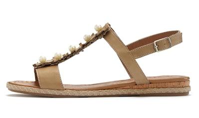 LASCANA Sandale, aus weichem Leder mit kleinen Perlen kaufen