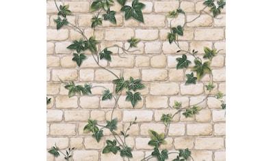 living walls Papiertapete »Il Decoro«, Steinoptik, Backstein mit Efeu, umweltfreundlich kaufen