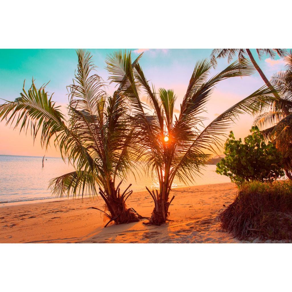 Papermoon Fototapete »Tropischer Sonnenuntergangsstrand«, Vliestapete, hochwertiger Digitaldruck