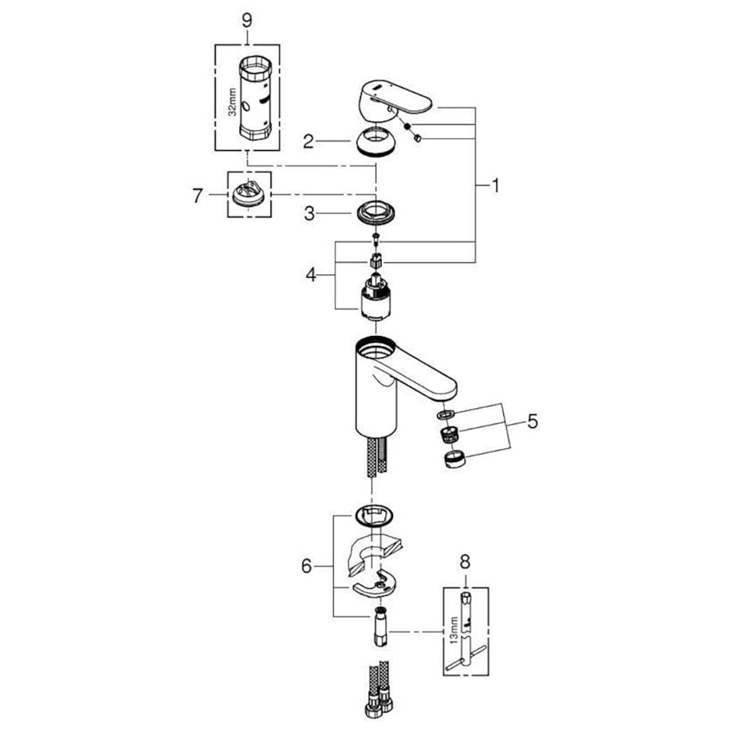 Grohe Waschtischarmatur »Eurosmart Cosmopolitan DN 15, M-Size«, mit Einhand-Batterie, DN 15, M-Size
