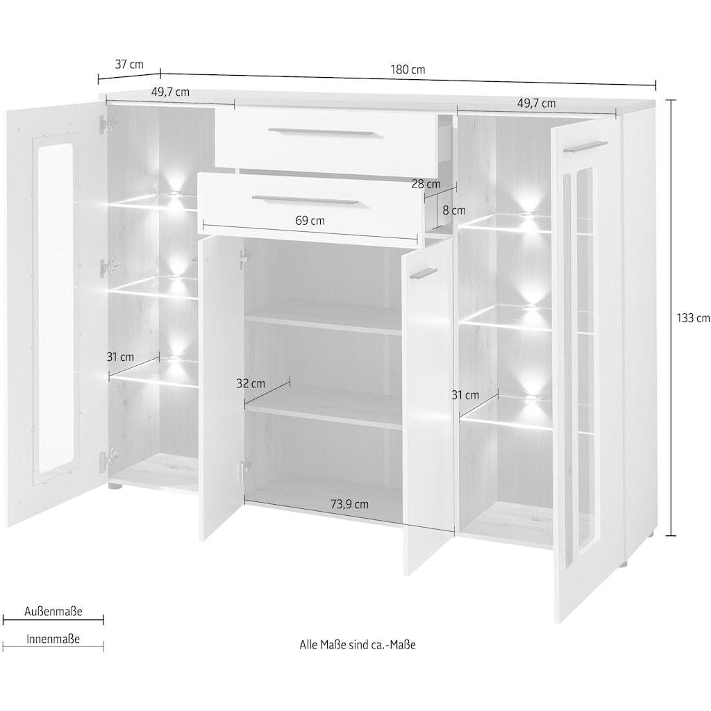 Innostyle Highboard »Loft Two«, Breite 180 cm, 2 Holztüren, 2 Schubkästen, 2 Glas-/Holztüren