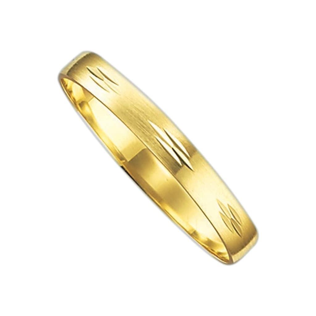 Firetti Trauring mit Gravur »seidenmatt, Diamantschnitt, 3,0 mm breit«, Made in Germany, wahlweise mit oder ohne Brillant