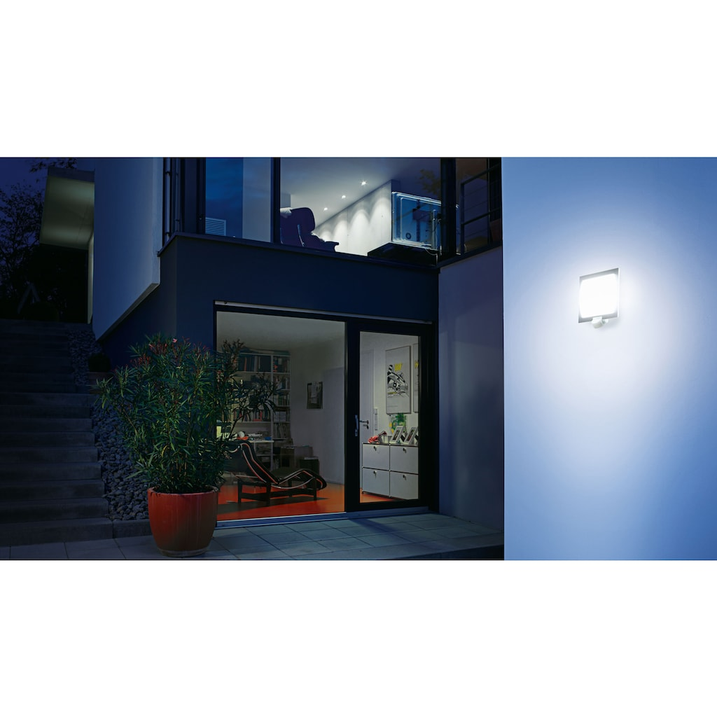 steinel Außen-Wandleuchte »L 20 S«, E27, 1 St., 180° Erfassungsbereich, max. 10 m Reichweite, Zeiteinstellung von 8 Sek. - 35 Min., Sensor um 90° vertikal schwenkbar, regenwassergeschützt, Zeitloses Design