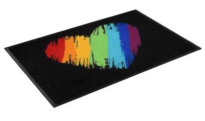 wash+dry by Kleen-Tex Fußmatte »Pride Heart«, rechteckig, 7 mm Höhe, Fussabstreifer, Fussabtreter, Schmutzfangläufer, Schmutzfangmatte, Schmutzfangteppich, Schmutzmatte, Türmatte, Türvorleger, In- und Outdoor geeignet, waschbar kaufen