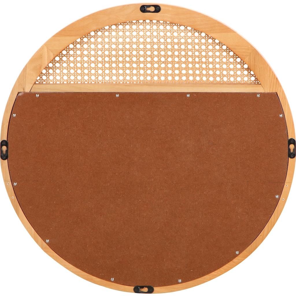 COUCH♥ Wandspiegel »Feines Geflecht«, Rahmen aus Massivholz, Rattan Einsatz