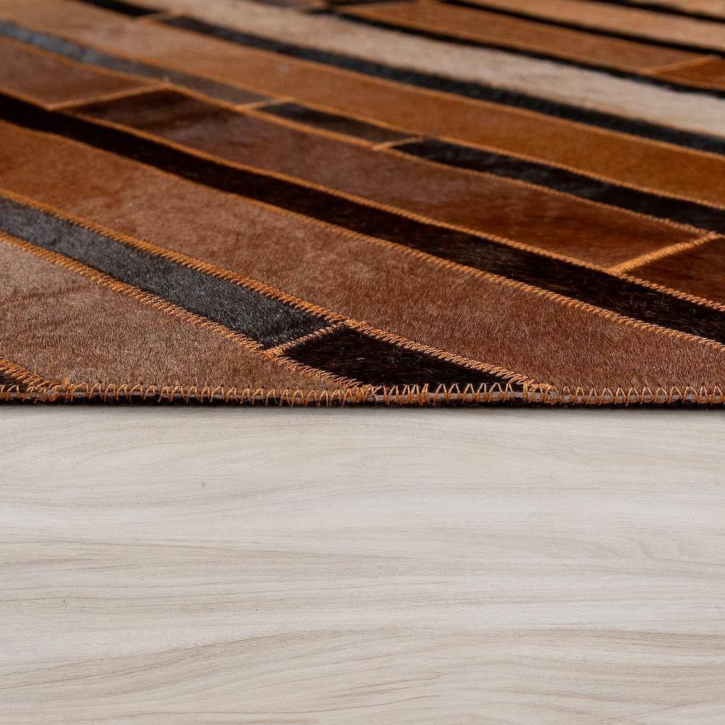 Paco Home Fellteppich »Western 701«, rechteckig, 10 mm Höhe, Patchwork, echtes Rinderfell und Wolle, Wohnzimmer