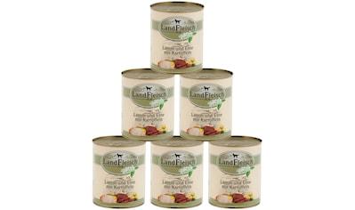 LANDFLEISCH Nassfutter »Pur Lamm, Ente und Kartoffel«, (6), 6 Dosen á 800 g kaufen