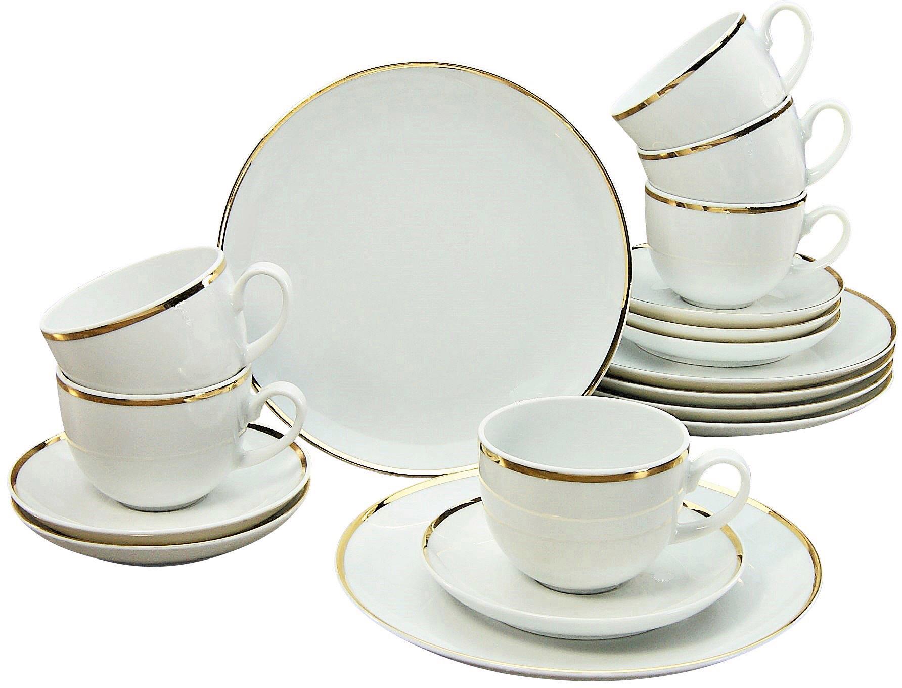 Guido Maria Kretschmer Home&Living Kaffeeservice Golden Line, (Set, 18 tlg.), handbemalter Goldrand weiß Geschirr-Sets Geschirr, Porzellan Tischaccessoires Haushaltswaren
