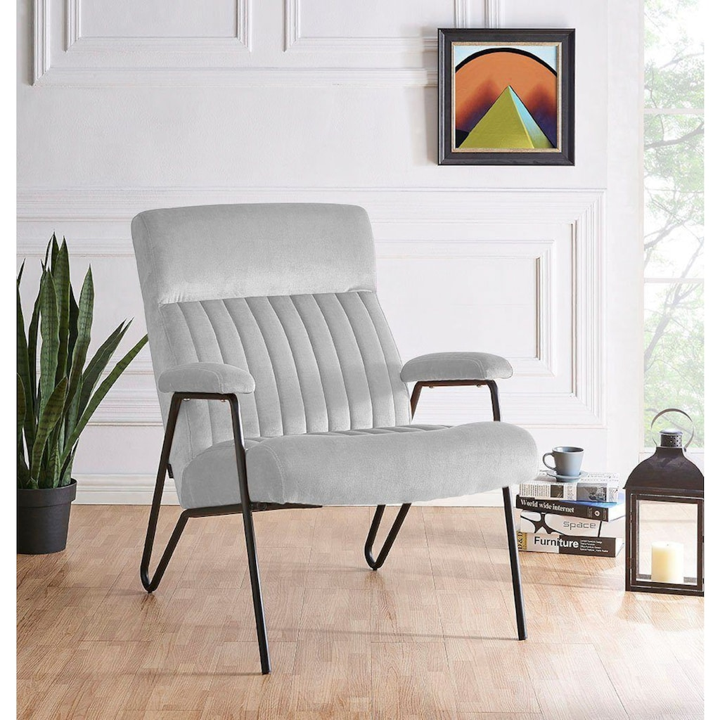 Home affaire Sessel »Tanaro«, mit einem Metallgestell und einem pflegeleichten, weichen Samtvelours Bezug, Sitzhöhe 44 cm