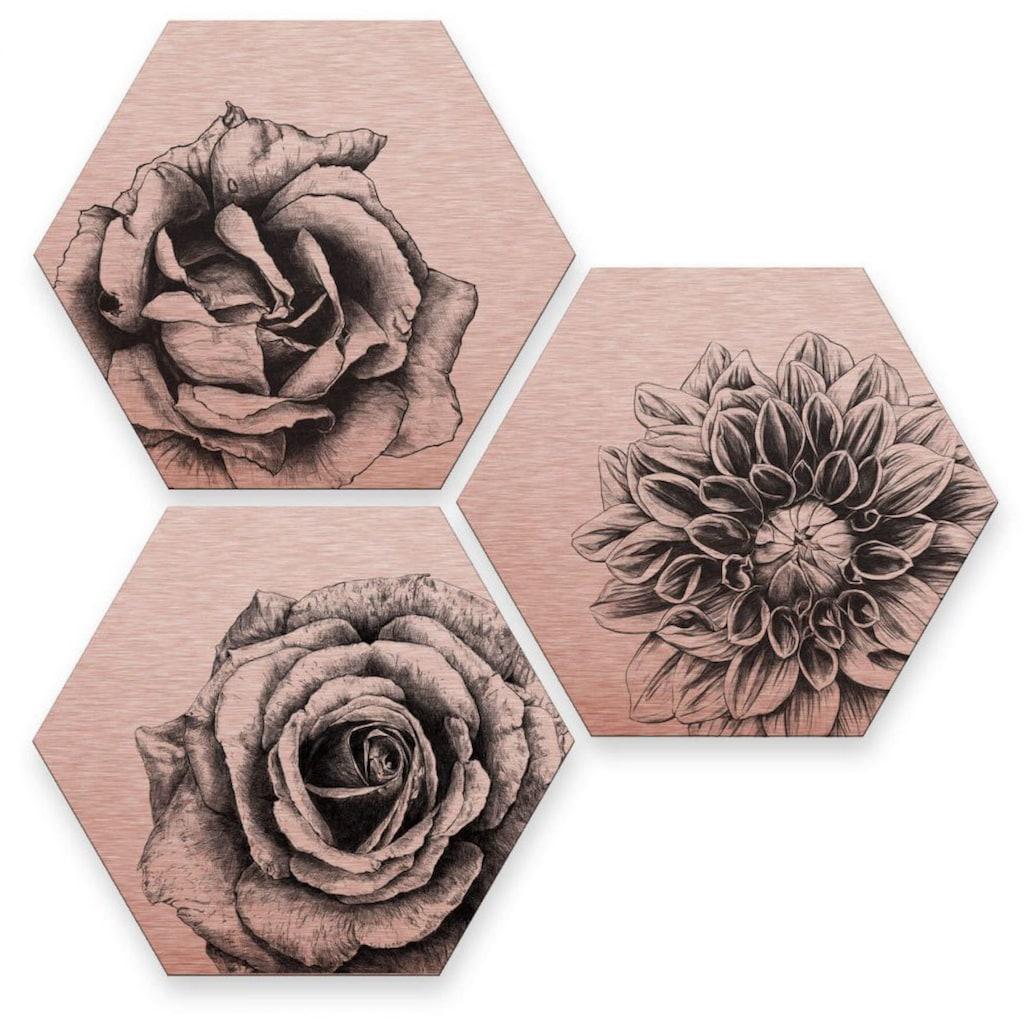 Wall-Art Mehrteilige Bilder »Florales Blumen Set Kupfer«, (Set, 3 St.)