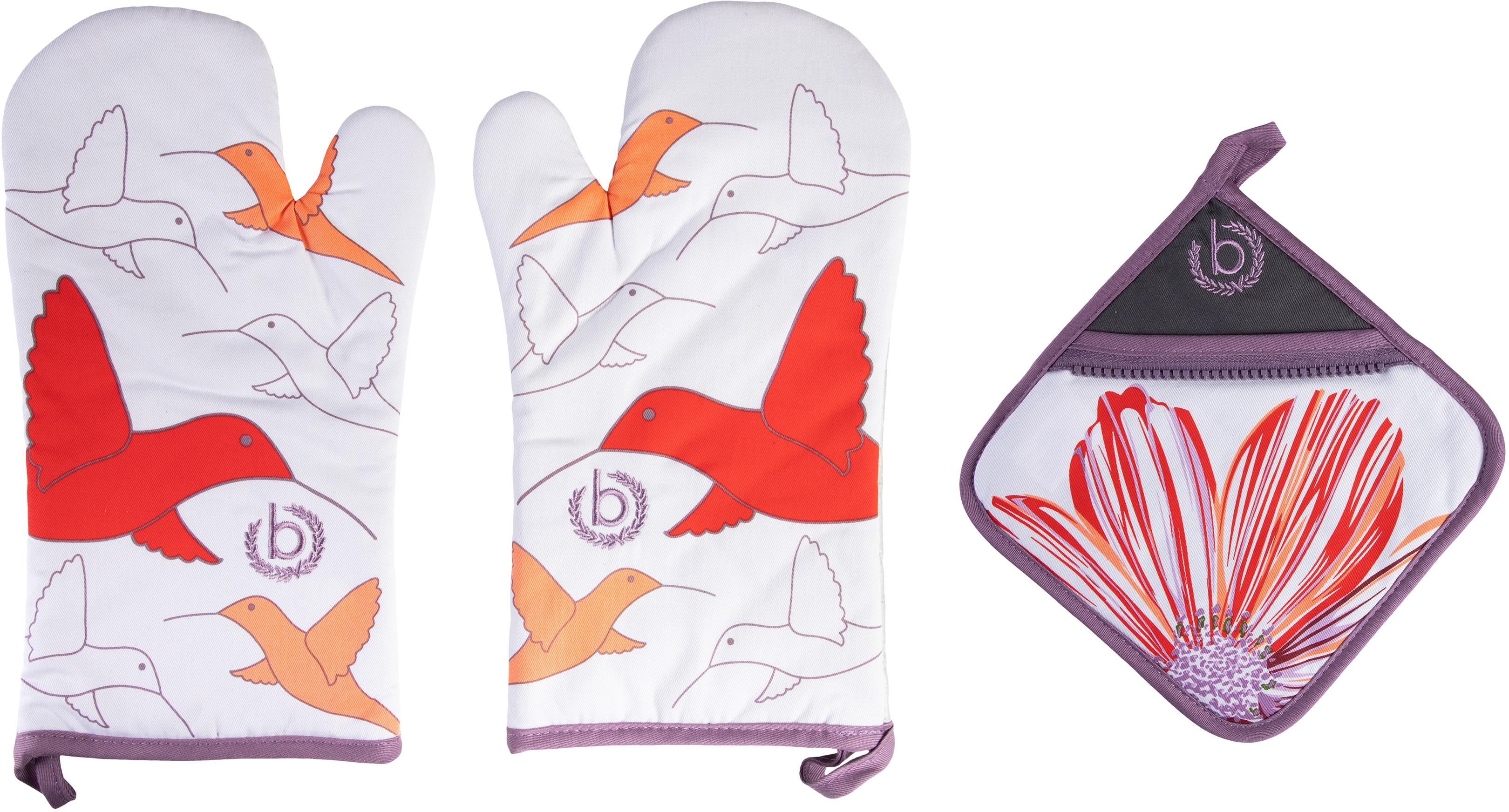 bugatti Topfhandschuhe Zip & Surprise, (Set, 3 tlg., bestehend aus 2x Ofenhandschuh, 1x Topflappen) lila Topflappen und Topfhandschuh Kochen Backen Haushaltswaren