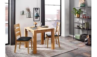 Home affaire Essgruppe »Nils 1«, (Set, 3 tlg., Tisch 80 x 80, 2 Stühle, Polstersitz), aus Massivholz kaufen