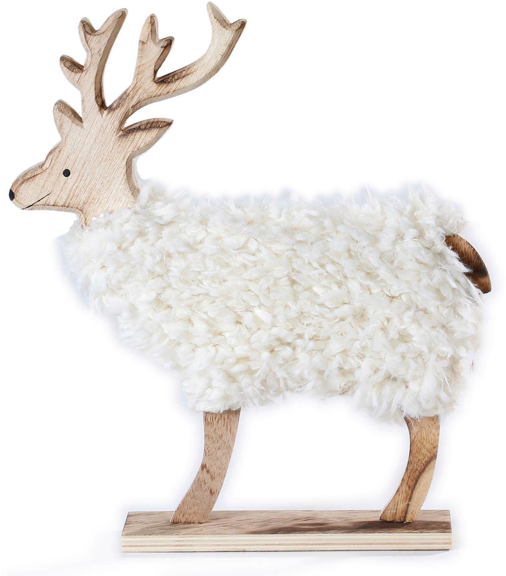 CHRISTMAS GOODS by Inge Tierfigur, Hirsch mit Kunstfell beige Tierfiguren Figuren Skulpturen Wohnaccessoires Tierfigur