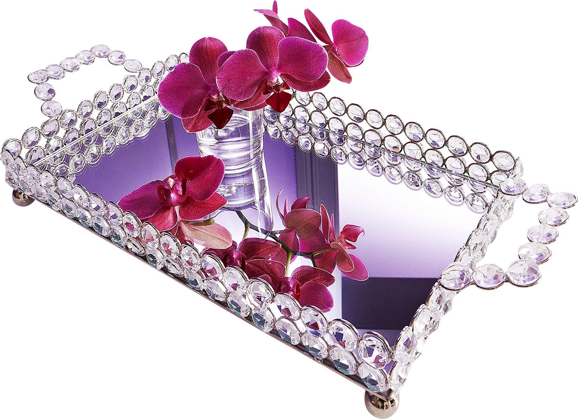 ARTRA Tablett, mit Griffen Kristall silberfarben Dekoschalen Dekotabletts Deko Wohnaccessoires Tablett