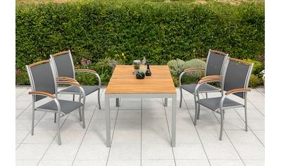 MERXX Diningset »Siena«, 5 - tlg., 4 Sessel, Tisch 150x90 cm, Alu/Akazienholz kaufen
