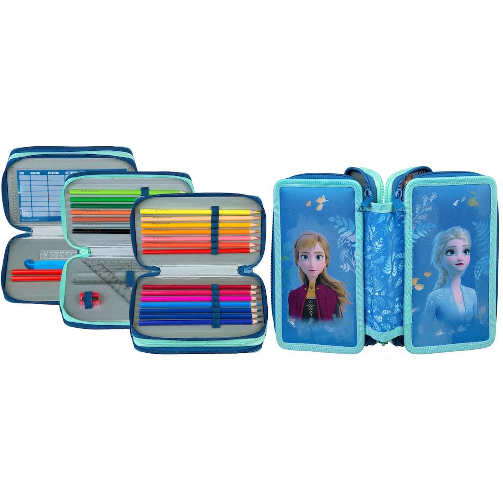 Scooli Schreibgeräteetui »Triple Decker, Frozen«, befüllt, inkl. Geodreieck