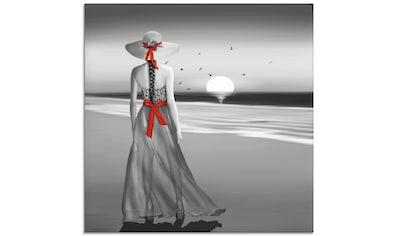 Artland Glasbild »Ein Blick zurück aufs Meer«, Frau, (1 St.) kaufen