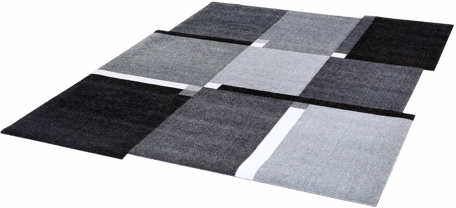 wash+dry by Kleen-Tex Teppich Living Squares, stufenförmig, 9 mm Höhe, Wohnzimmer grau Esszimmerteppiche Teppiche nach Räumen