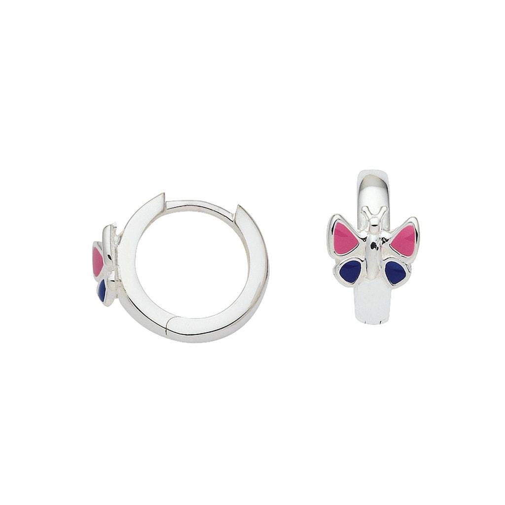 Adelia´s Paar Creolen »925 Silber Ohrringe / Creolen Schmetterling Ø 12,4 mm«, Silberschmuck für Damen