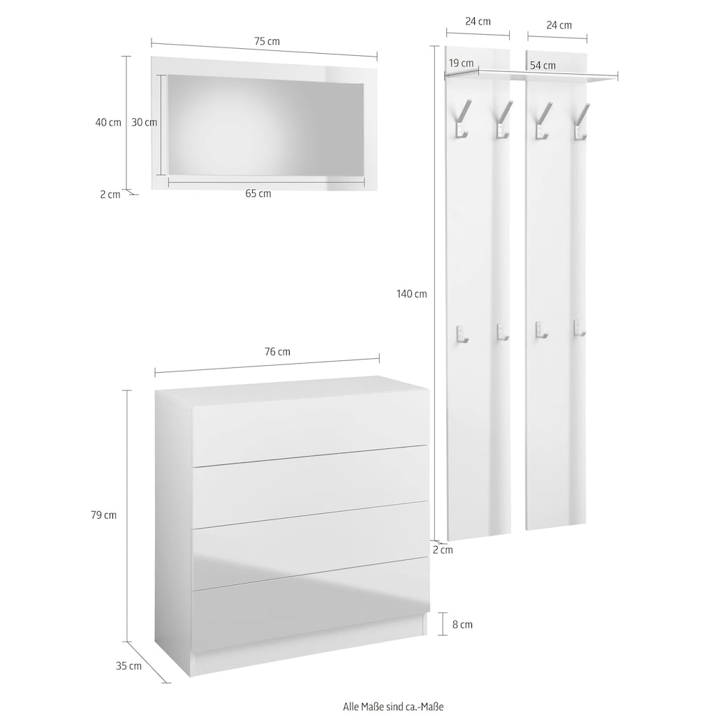 borchardt Möbel Garderoben-Set »Vaasa 3«, (Set, 3 St.), mit Push to Open-Funktion