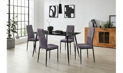 Homexperts Essgruppe »Romeo + Zeus«, (Set, 5 tlg.), Glastisch, Breite 140 cm und 4 Esszimmerstühle, Bezug in Webstoff kaufen