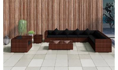 BAIDANI Loungeset »Eastside braun«, 27 - tlg., Ecksofa, Sessel, Hocker, Tisch, Alu/Polyester kaufen