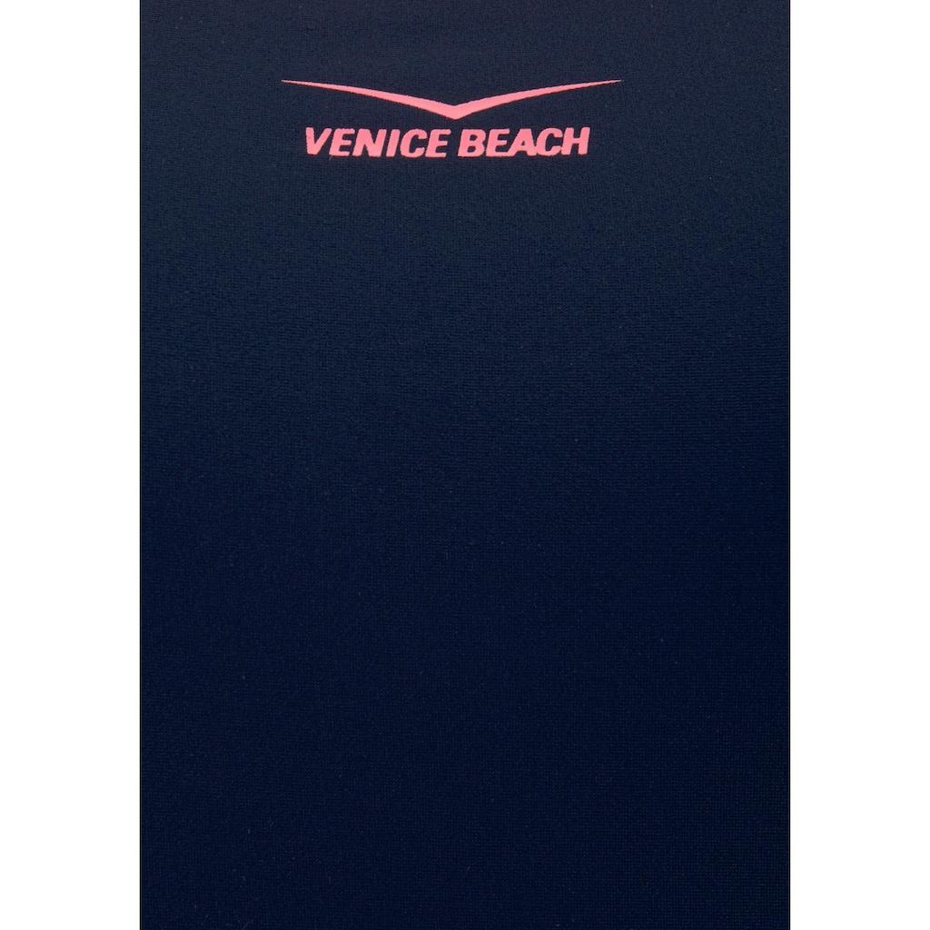 Venice Beach Badeanzug, mit Einsätzen in Melange-Optik