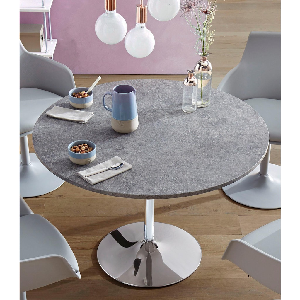 Esstisch, rund, Ø110 cm, Tischplatte weiß Hochglanz