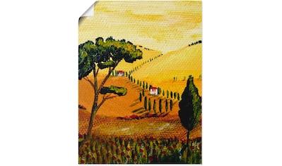Artland Wandbild »Toskana gelb-orange«, Wiesen & Bäume, (1 St.), in vielen Größen &... kaufen