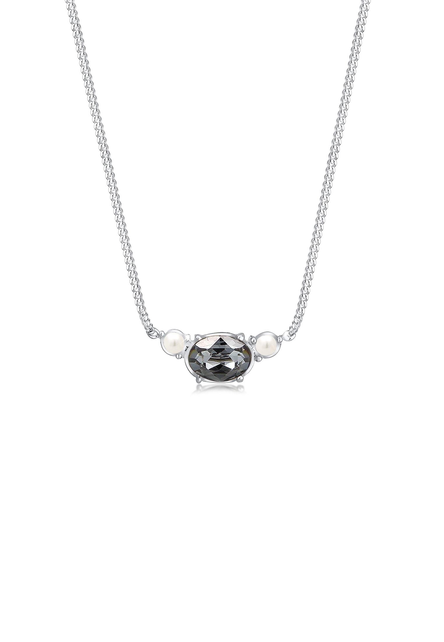 Elli Collierkettchen Panzerkette Perle Swarovski Kristalle 925 Silber | Schmuck > Halsketten > Panzerketten | Elli