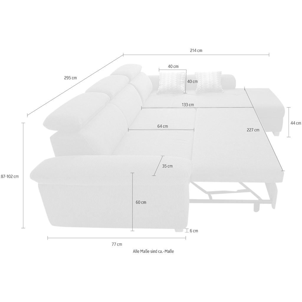 Jockenhöfer Gruppe Ecksofa, inklusive Bettfunktion, Kopfteilverstellung und loser Zierkissen, Ottomane links oder rechts montierbar