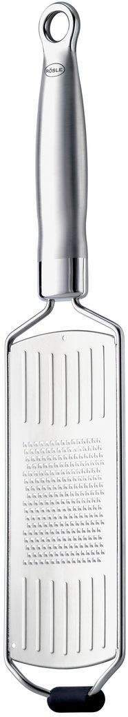 RÖSLE Küchenreibe, (1 St.), Feinreibe in Profiqualität für Parmesan, Gewürze und Zitrone, mit Silikonstandfuß, ergonomischem Griff Aufhängeöse silberfarben Küchenreibe Reiben Hobel Kochen Backen Haushaltswaren