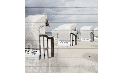 QUEENCE Holzbild »Strandkörbe Strand«, 40x40 cm Echtholz kaufen