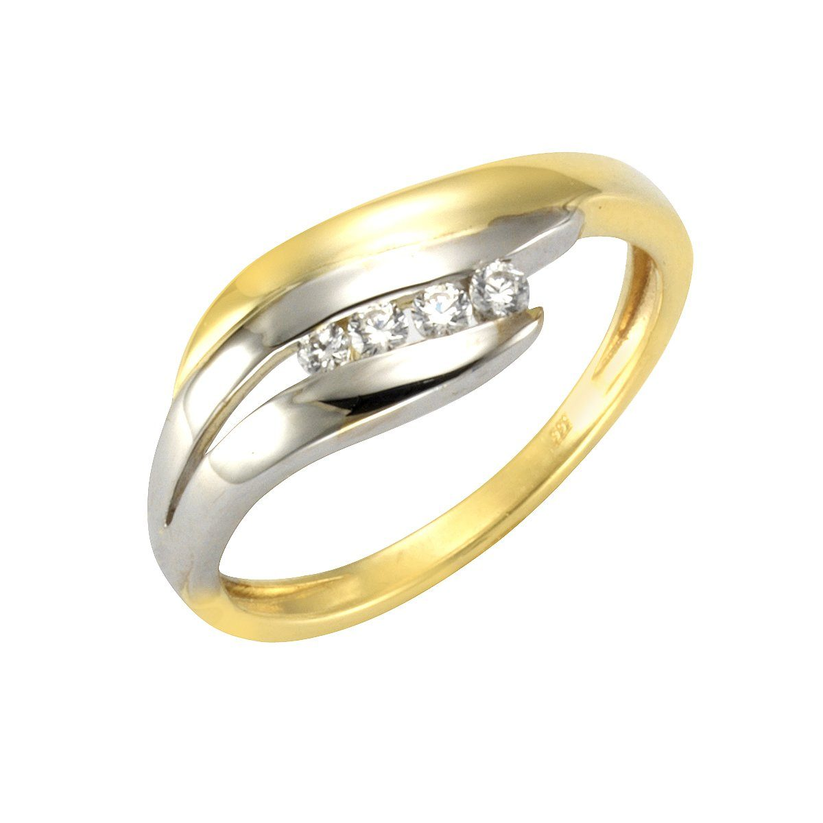 Vivance Ring 333/- Gelb- und Weißgold 4x Zirkonia   Schmuck > Ringe > Goldringe   Vivance