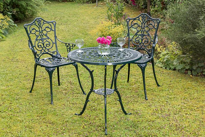 MERXX Gartenmöbelset Lugano 3tlg 2 Sessel Tisch Ø 70 cm Aluminium grün