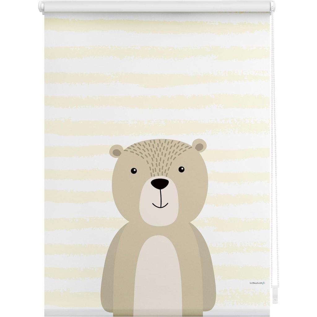 Lüttenhütt Seitenzugrollo »Bär«, verdunkelnd, ohne Bohren, im Fixmaß