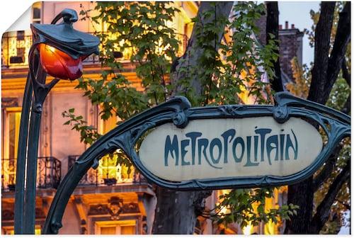 Artland Wandbild »Jugendstil-Eingang zu Metro-Station«, Schilder, (1 St.), in vielen Größen & Produktarten - Alubild / Outdoorbild für den Außenbereich, Leinwandbild, Poster, Wandaufkleber / Wandtattoo auch für Badezimmer geeignet kaufen