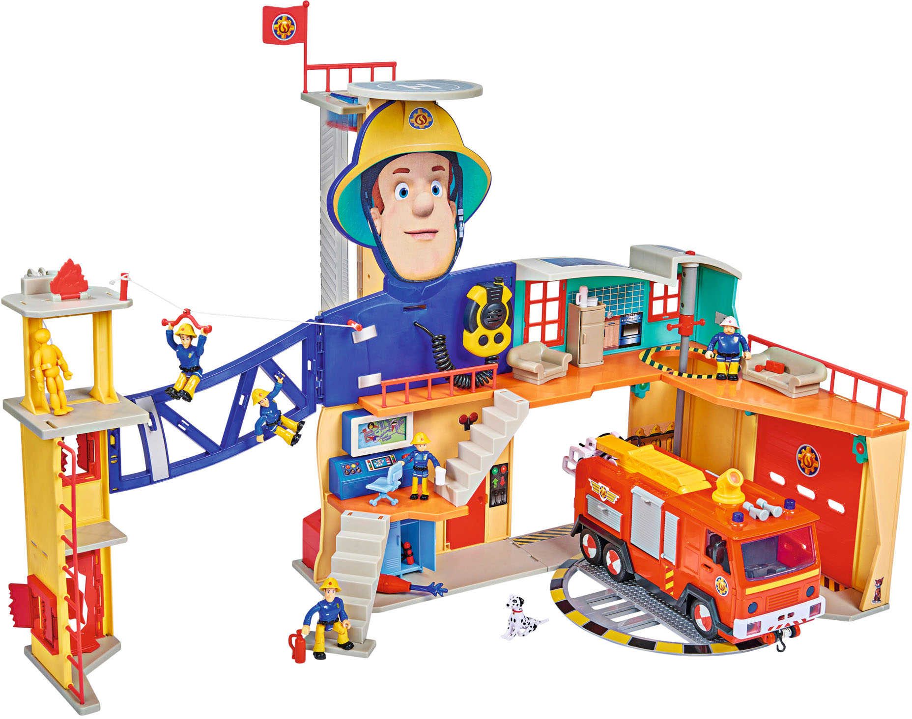 SIMBA Spielzeug-Feuerwehr Feuerwehrmann Sam Mega Feuerwehrstation XXL, mit Licht und Sound bunt Kinder Simba