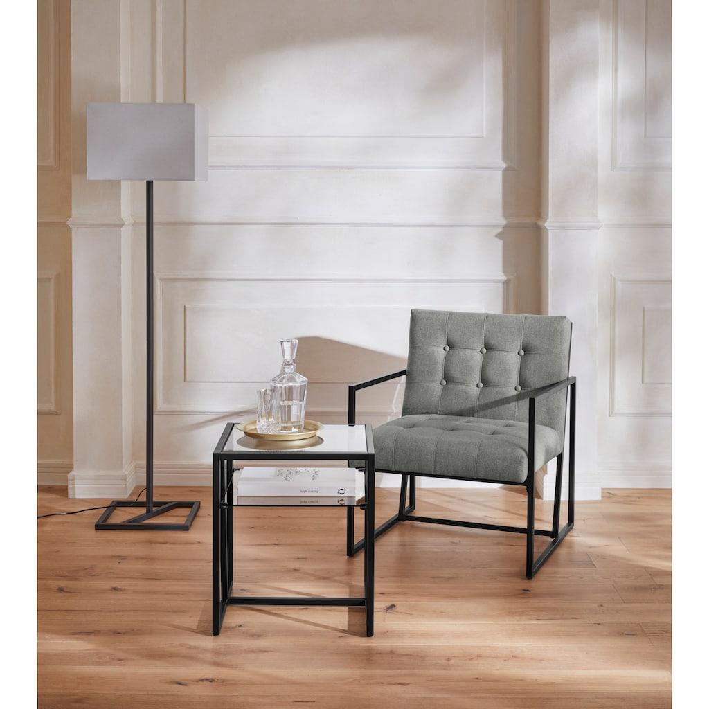 Guido Maria Kretschmer Home&Living Beistelltisch »Silwai«, Gestell aus Metall, 0,5 cm starke Tischplatte aus Glas