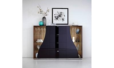 LEONARDO Highboard »CURVE«, Vitrine beidseitig, Innenfarbe Nussbaum, Breite 195 cm kaufen