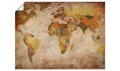 Artland Wandbild »Weltkarte«, Landkarten, (1 St.), in vielen Größen & Produktarten - Alubild / Outdoorbild für den Außenbereich, Leinwandbild, Poster, Wandaufkleber / Wandtattoo auch für Badezimmer geeignet kaufen