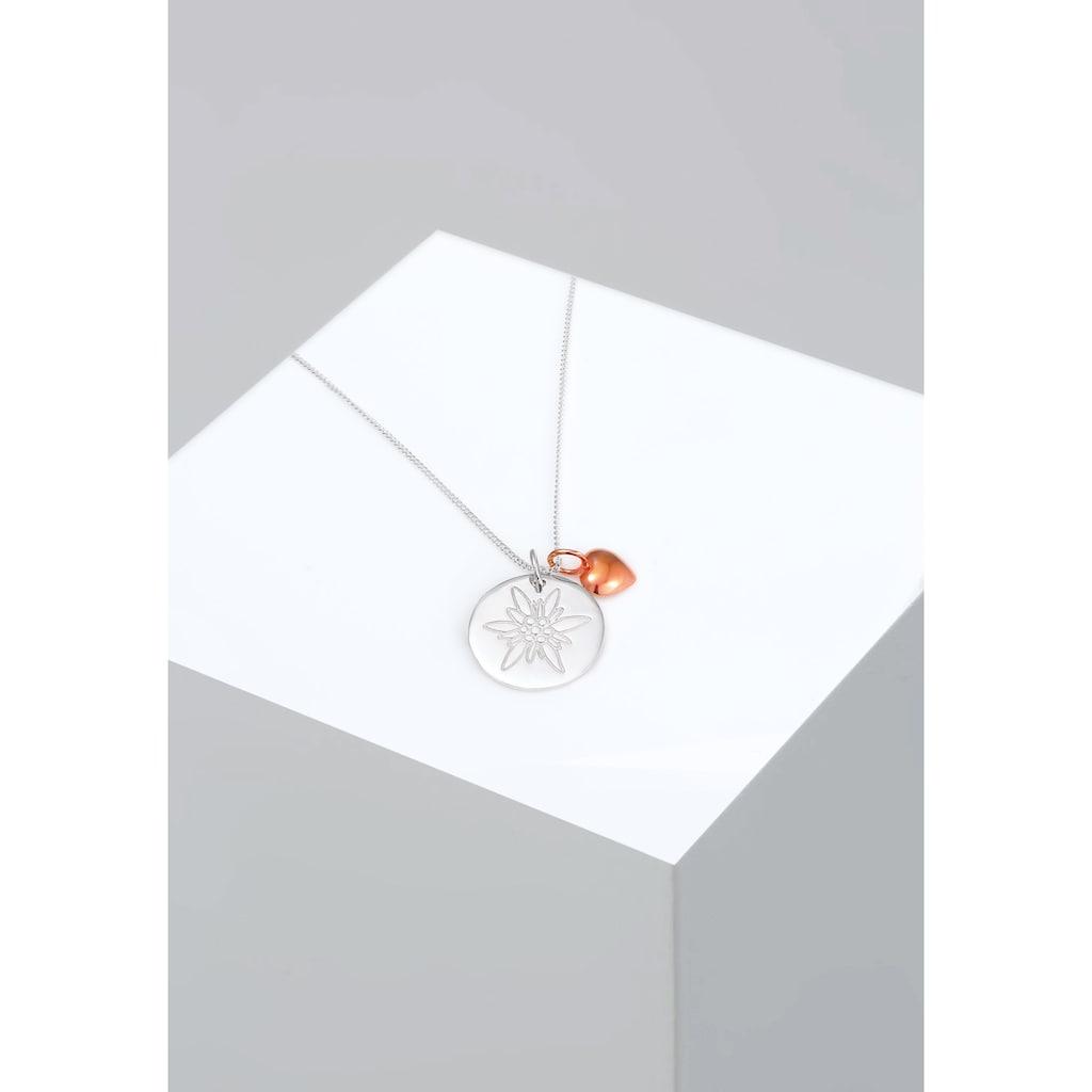 Elli Collierkettchen »Edelweiss Herz Anhänger Bi-Color Wiesn 925 Silber«