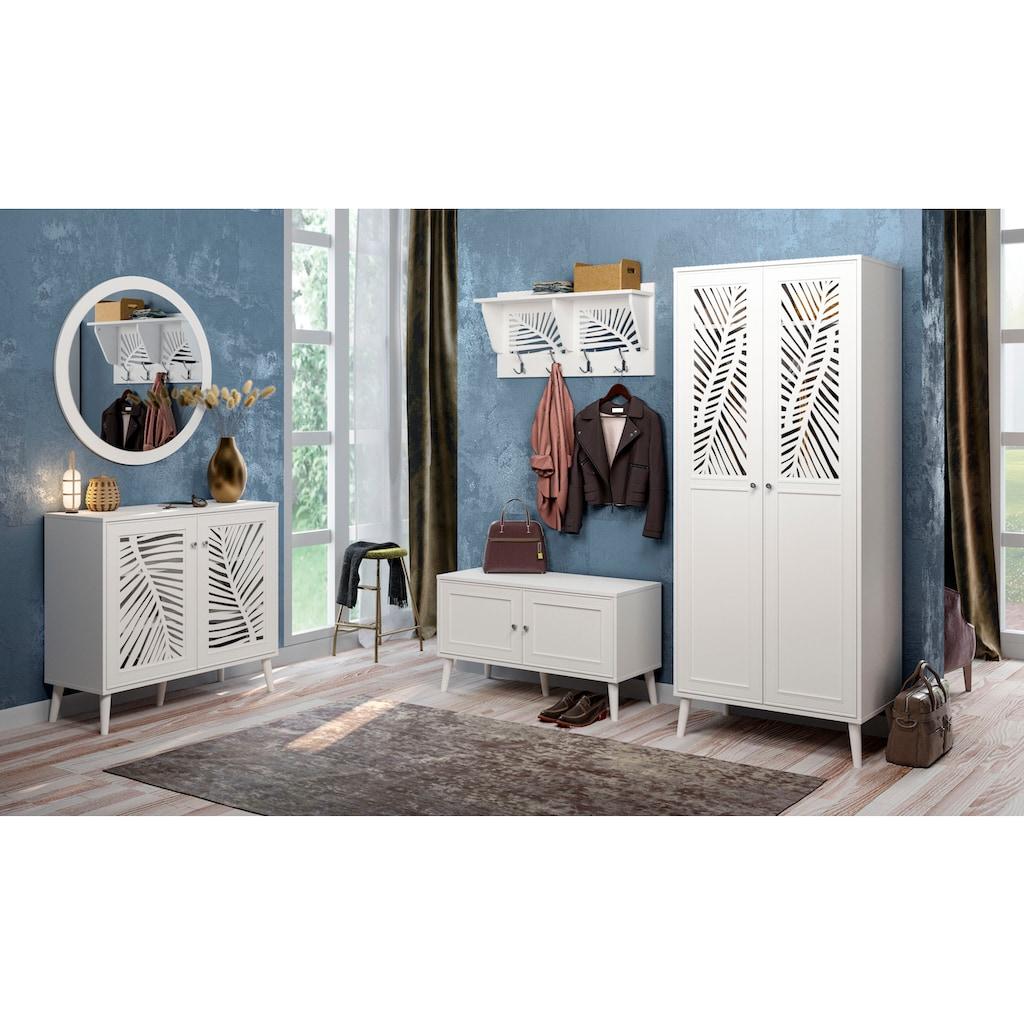 """Home affaire Garderobenpaneel »Tropical«, Garderobenpaneel """"Tropical"""" mit Spiegelfront und ausgefrästen Profilen"""